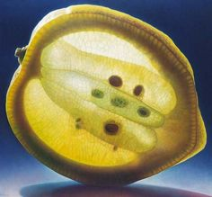 Dennis Wojtkiewicz,an Ohio-based artist, creates oversized hyperreal oil paintings of fruits. He experiments with light and translucence to make his stunning paintings appear as if they glow. At first glance, his still lifes can be mistaken for photos.