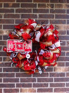 San Francisco 49ERS Deco Mesh Wreath by SparkledIntentions on Etsy, $110.00 - you could make this for probably $25. - $35.