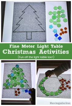 Simple Christmas loose parts play for the light table! Great ways for preschoolers to get creative & strengthen fine motor skills. Quiet time activity too! Preschool Christmas Activities, Christmas Crafts For Kids, Craft Activities, Holiday Crafts, Motor Activities, Reggio Emilia, Free Christmas Printables, Free Printables, Christmas Lights