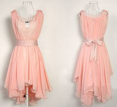 Dusty pink chiffon dress by on Etsy Dance Outfits, Dance Dresses, Dress Outfits, Casual Dresses, Short Dresses, Prom Dresses, Fashion Outfits, Bridesmaid Gowns, Dress Prom