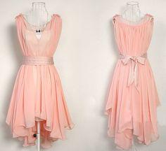Dusty pink chiffon dress by YL1dress on Etsy, $59.00