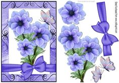 pretty purple flowers with bow and butterflies, makes a pretty card