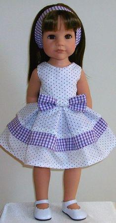 Vintagebaby purple pick & mix dress & alice band for Designafriend/Gotz hannah Sewing Doll Clothes, Girl Doll Clothes, Girl Dolls, Ag Dolls, Barbie Clothes, American Girl Dress, American Doll Clothes, American Girls, Dresses Kids Girl