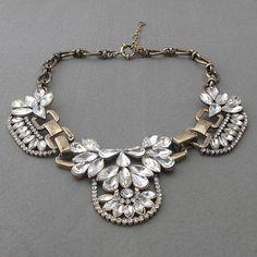 SALE clear glass Gemstone flower statement necklace, bubble statement necklace, bib necklace. $19.99, via Etsy.
