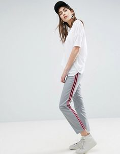 af07c96a7e ASOS Cigarette Pants with Side Stripe Trousers Women