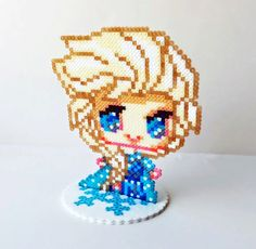 Mini Hama Perler Bead Toy Figure Elsa from by NerdyNoodleLabs