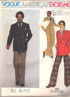 Vogue 1621 1970s Mens Lined Double Breasted Jacket and Straight Leg Pants American Designer Bill Blass adult vintage sewing pattern by mbchills