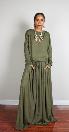 819a1f1ddc22 Green Maxi Dress Long Sleeve Khaki Green dress   by Nuichan Макси Платье  Зеленого Цвета,