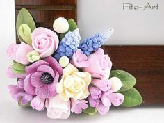 Decor: Photo frames with flowers from polymer clay - Fito Art