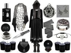 """hexeknochen: """"The Witching Hour by maggiehemlock featuring scented candles Top, $65 / Preen tulle skirt, $470 / Trasparenze gray tight / DailyLook lace up booties / Leather pouch / Stainless steel..."""