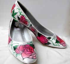 Shoes Bridal Wedding Event Party Rosetta and Peonies  by norakaren, $225.00