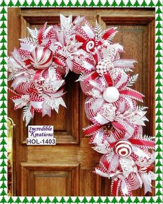 Items similar to Candy Cane Wreath; decoration for Front Door or Walls; excellent gift on Etsy Christmas Mesh Wreaths, Deco Mesh Wreaths, Christmas Balls, Christmas Crafts, Christmas Decorations, Holiday Decor, Christmas Ideas, Winter Wreaths, Burlap Wreaths