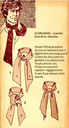 The Great European Ascot: Complete Do-It-Yourself Instructions for Americans – Put This On Mens Scarf Fashion, Suit Fashion, Scarf Knots, Tie Knots, Mode Masculine, Style Blog, Tie A Necktie, Mens Ascot, Style Masculin