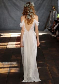 Feminine off-shouldered sleeved gown from the 'Romantique' Collection by Claire Pettibone