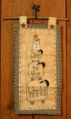 Joy to the World wall hanging #wool #embroidery