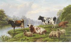 Charles Jones, RCA (British, 1836-1892) Cattle and sheep by a river