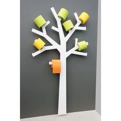Porte Papier WC métal arbre blanc PQTIER