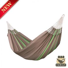 Extra-large family hammock FLORA chocolate, made of organic cotton and certified by GOTS.