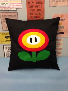 Super Mario Fire Flower design, Nintendo game inspired cushion, pillow cover. Perfect for children's playroom!