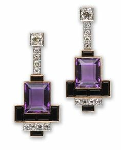 Pair of amethyst, onyx and diamond earrings of geometric design, suspending a line of old European-cut diamonds with rectangular-cut amethyst and calibré-cut onyx terminals mounted in eighteen karat gold. Art Deco or Art Deco style. Bijoux Design, Schmuck Design, Jewelry Design, Amethyst Jewelry, Diamond Jewelry, Gold Jewelry, Purple Jewelry, Amethyst Earrings, Crystal Jewelry