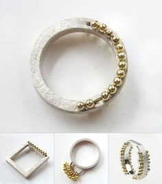 UK jeweller Olga Konopka plays with many iterations of gold dots on silver.  - https://myspace.com/jewellerybyolgak/photos