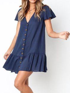 V-Ausschnitt Single Breasted Plain Kurzarm Mini Casual Kleider - Outfits Dresses For Teens, Summer Dresses For Women, Simple Dresses, Cute Dresses, Casual Dresses, Fashion Dresses, Short Sleeve Dresses, Mini Dresses, Simple Dress Casual