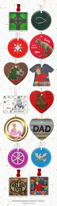 A selection of fantastic Christmas ornaments from Ms. Contrary, featuring monogrammed ornaments, shabby chic ornaments, funny cat and dog ornaments, and my first Christmas ornaments.Add your own text or photos to these Christmas ornaments to create one-of-a-kind keepsakes.