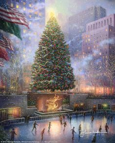 "Christmas in New York [2008] ©Thomas Kinkade "" Christmas in New York brings us to Rockefeller Center for the lighting of the nation�s most famous Christmas tree. Rockefeller Center becomes a glorious spectacle during the holidays. Colorful skaters glide and spin under the massive, gilded statue of Prometheus.         Christmas in New York celebrates both the tree and also holidays in that great city."""