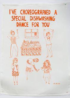 hahaha http://onefinedayhandmade.com/products/tea-towel-dance