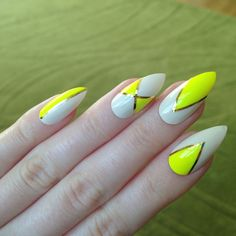 Neon yellow false nails Nail designs Nail by prettylittlepolish