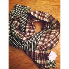 houndstooth&plaid blanket scarf Beautiful pattern. Thick material. Very warm. Brand new. Price is firm. Not urban- exposure purposes Urban Outfitters Accessories Scarves & Wraps