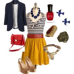 Mustard yellow, blue & red <3