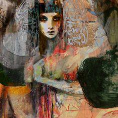 "Suhair Sibai ""Bride of Liberty"" - Mixed Media on Canvas 48 x 48 "" Abstract Portrait, Abstract Art, Art Arabe, Modern Art, Contemporary Art, Figurative Kunst, Inspiration Art, Arabic Art, Art Moderne"