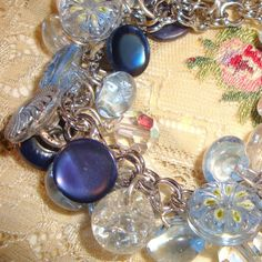 vintage blue button charm bracelet