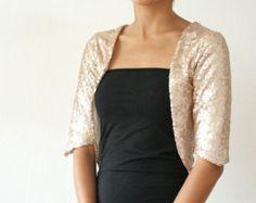 Champagne Rose Gold Sequin Wedding Bolero Coverup Shrug by Kulayan