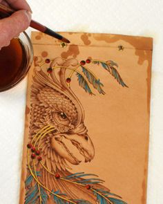 coloring a leather pyrography pattern