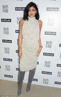 Kylie Jenner.. Zaid Affas Metallic Linen High Collar Long Dress + Gianvito Rossi Osaka Boots..