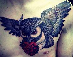 Owl With Diamond Heart Tattoo on Chest