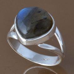 925 STERLING SILVER PAPULAR LABRADORITE RING 3.91g DJR8295 SZ-7 #Handmade #Ring