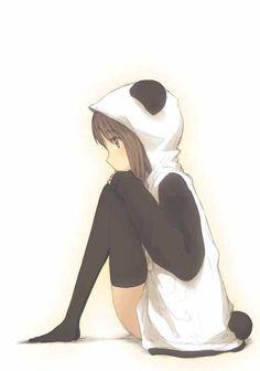 Anime girl with panda hoodie ^.^