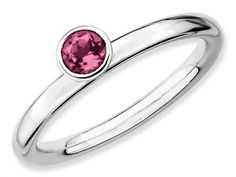 Stackable Expressions Sterling Silver High 4mm Round Pink Tourmaline Stackable Ring