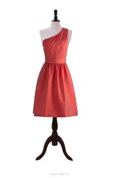 One Shoulder Dress with Shirred Skirt $110.98