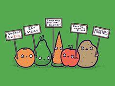 'Protesting Vegans' Funny Vegetables w/ Protest Signs Against Vegans 24x18 - Vinyl Print Poster