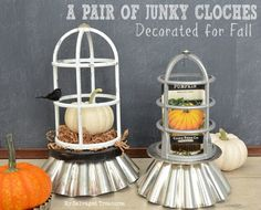 Trash to treasure cloches created with fluted tins and vintage aluminum light guards. From MySalvagedTreasures.com