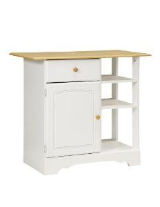 New Visions by Lane 394-022 Kitchen Island, White and Maple