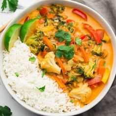 This Vegan Thai Red Curry tastes better than anything you'd get from a restaurant, and is totally customizable. Ready in about 30 minutes. Curry Recipes, Veggie Recipes, New Recipes, Cooking Recipes, Healthy Recipes, Recipies, Veggie Meals, Veggie Food, Healthy Foods