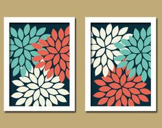 Bold Colorful Navy White Coral Aqua Floral Flower Burst Set of 2 Prints Wall Baby Decor Abstract Art Bedroom Bathroom Nursery Picture Crib Coral Bathroom Decor, Coral Bedroom, Bathroom Wall Decor, Bathroom Accessories, Bathroom Colors, Turquoise Bathroom, Artwork For Bathroom, Master Bathroom, Navy Bedrooms