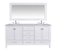 Stufurhome GM-6412-72PW-CR-M71 72-Inch Malibu Pure White Double Sink Bathroom Vanity with 71-Inch Mirror