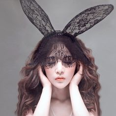 Cheap party snacks, Buy Quality party long directly from China accessories guitar Suppliers:  Fashion Women Girl Hair Bands Lace Rabbit Bunny Ears Veil Black Eye Mask Halloween Party Headwear Hair Accessories