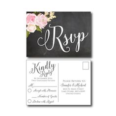 Rustic Wedding Rsvp Postcard  Chalkboard  by ClearyLaneWeddings